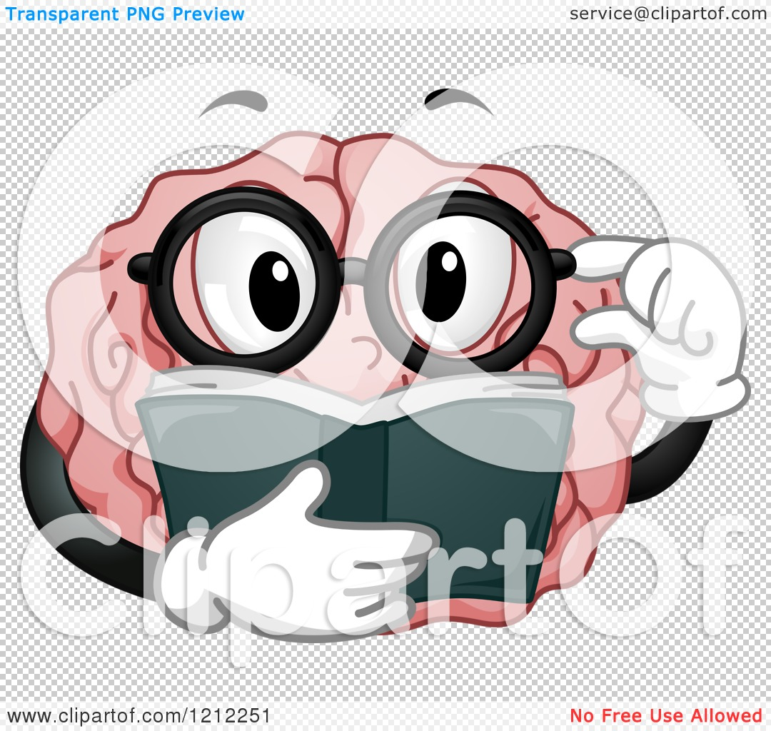 Cartoon of a Brain Mascot Touching His Glasses and Reading a Book.