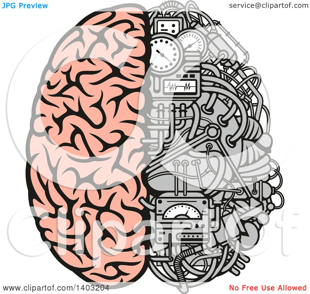 Clipart of a Half Human, Half Data Processing Center Brain.
