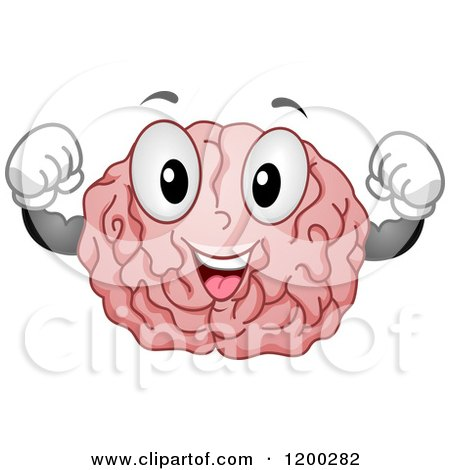 Cartoon of a Happy Strong Brain Mascot Flexing.