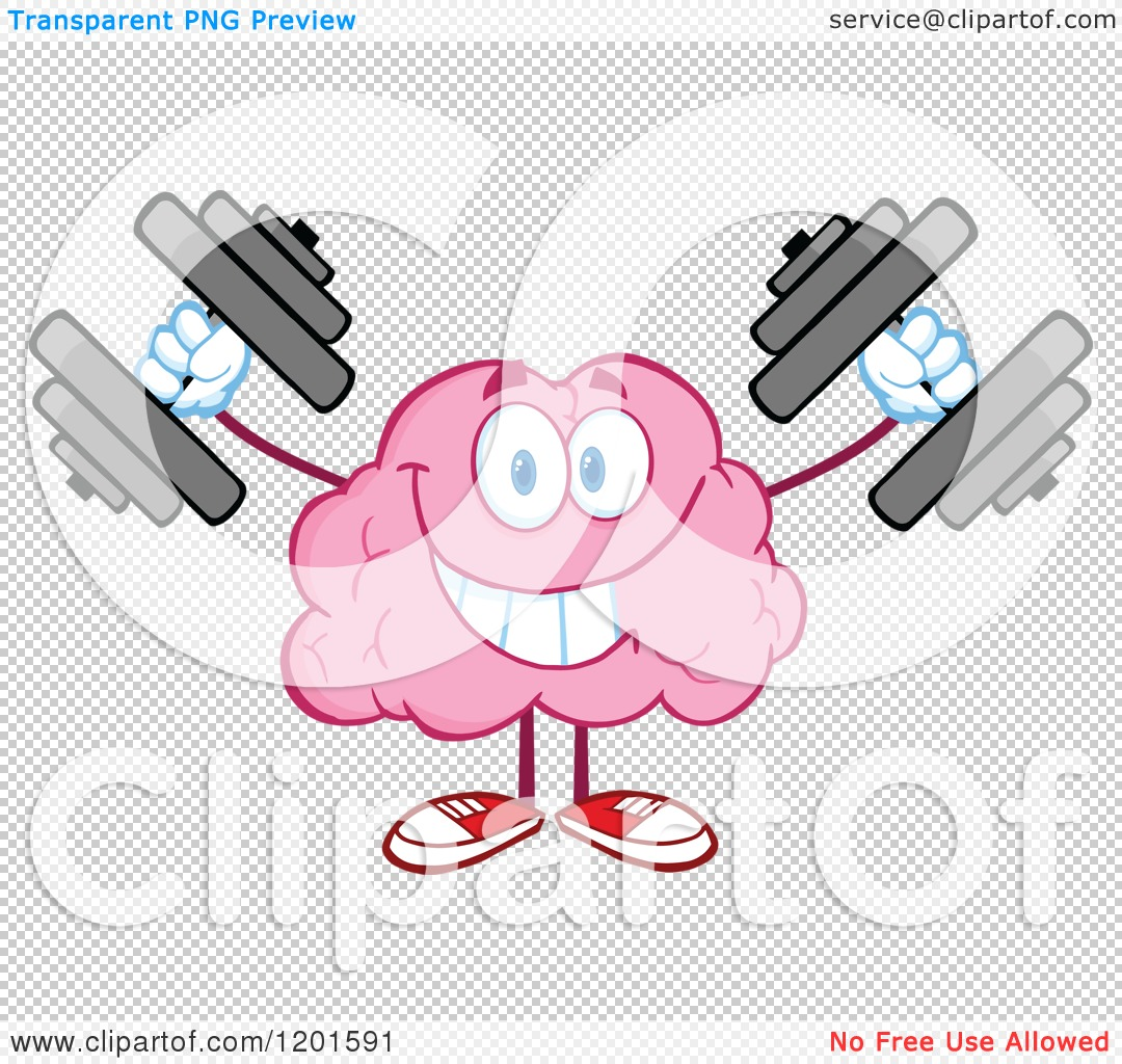 Cartoon of a Strong Pink Brain Mascot Lifting Dumbbells.