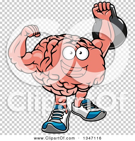 Clipart of a Cartoon Strong Muscular Brain Character Working out.