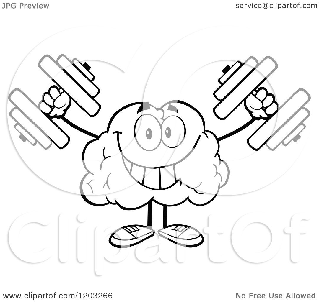Cartoon of a Black and White Strong Brain Mascot Lifting Dumbbells.