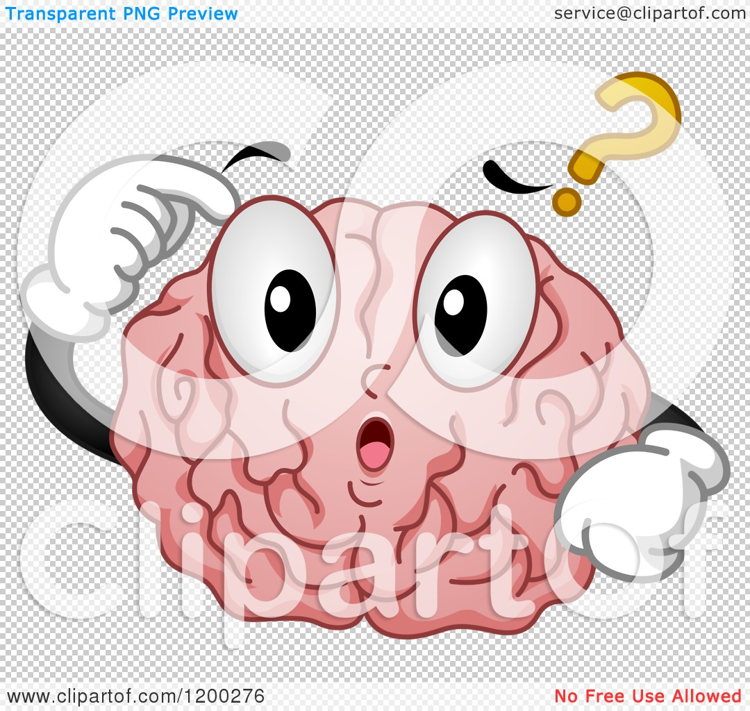 Cartoon of a Confused Brain Mascot with a Question Mark.