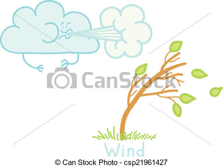 Vector Illustration of strong wind.