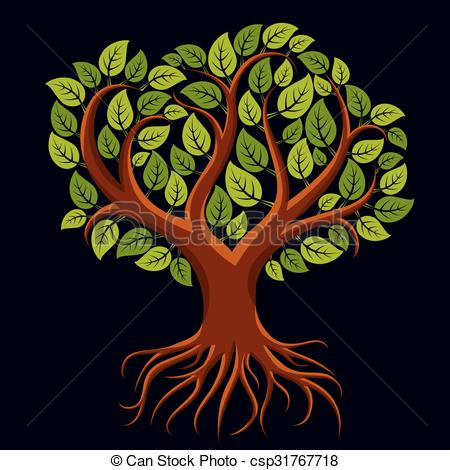 Vector Clip Art of Vector art illustration of branchy tree with.