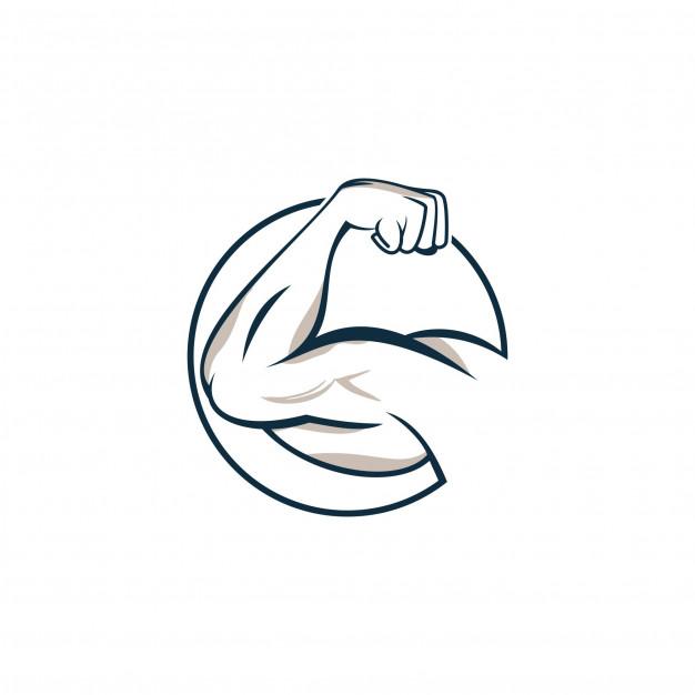 Strong hand fitness logo design Vector.