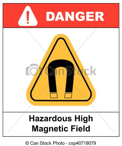 Vectors Illustration of strong magnetic field vector warning sign.