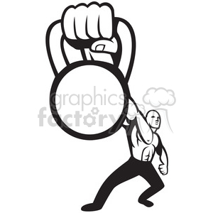 black and white kettle bell hand strong man clipart. Royalty.