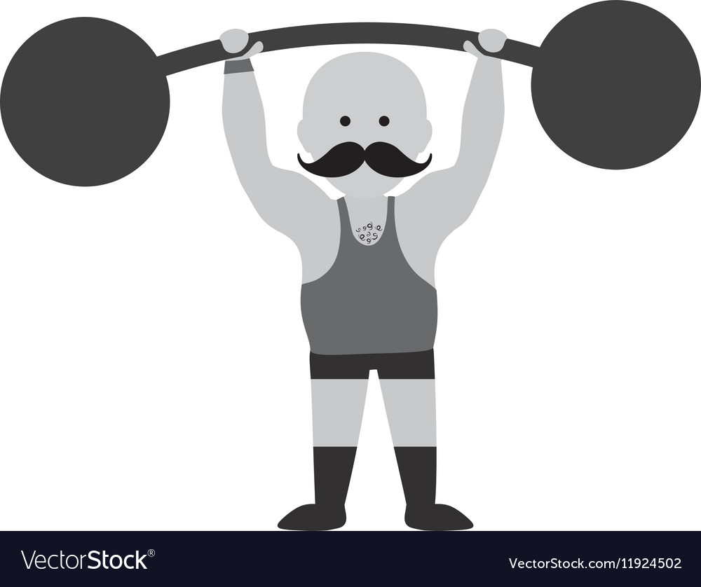 Strongman circus cartoon.