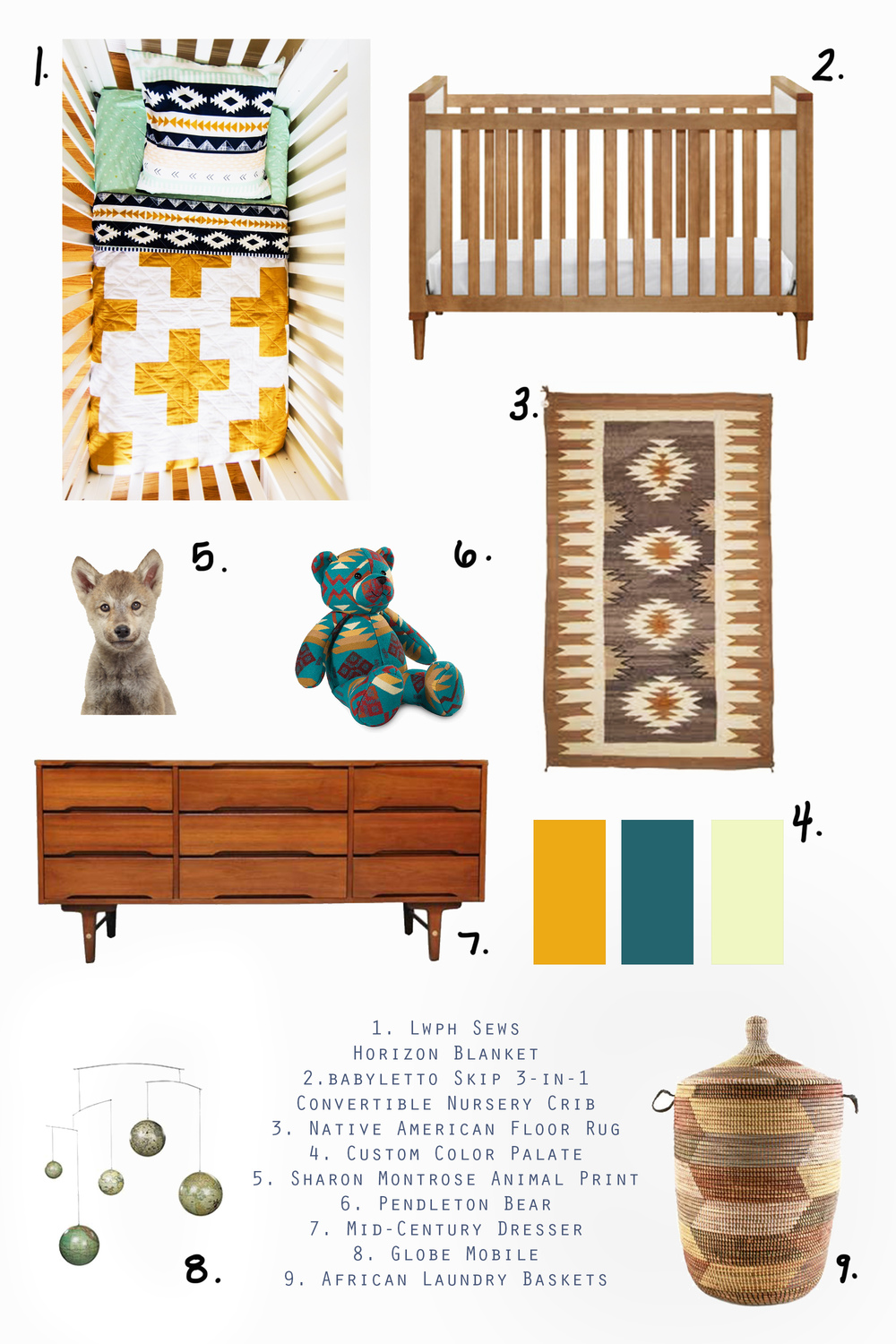 1. This quilt by LWPH Sews 2. This crib by Babyletto 3. A native.