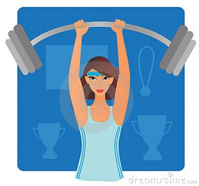 Girl Muscles Clipart.