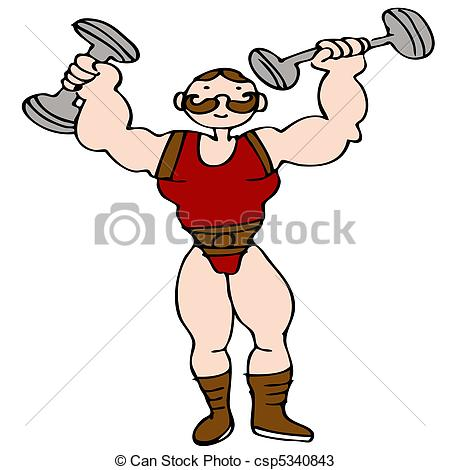 Clip Art Vector of Strongman Dumbbell.