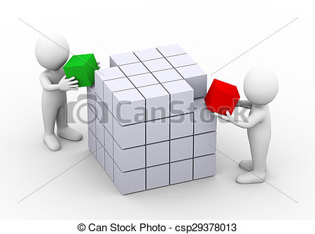 Clipart of 3d people working together with cube box structure.