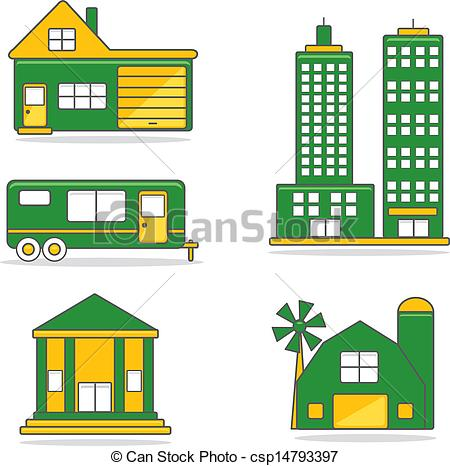 EPS Vectors of residential/commercial structures.