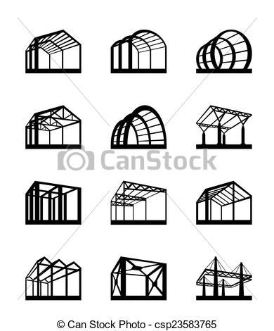 Clip Art Vector of Metal structures in perspective.