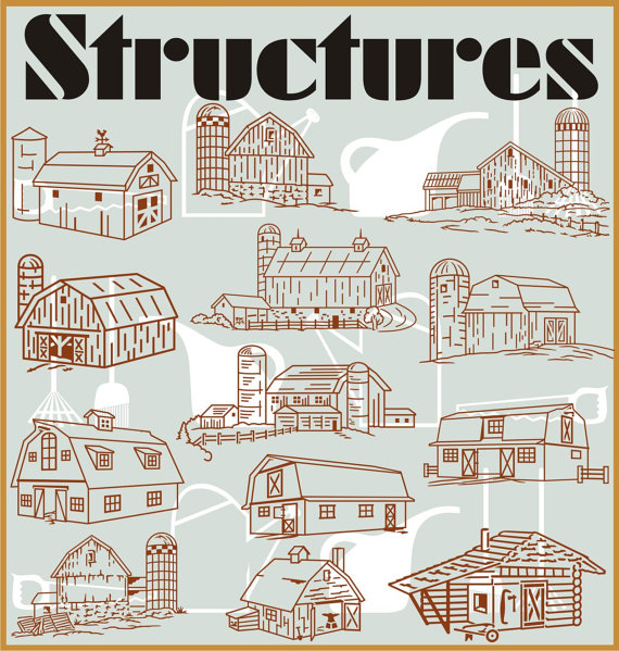 Structures 50 Vector Clipart.