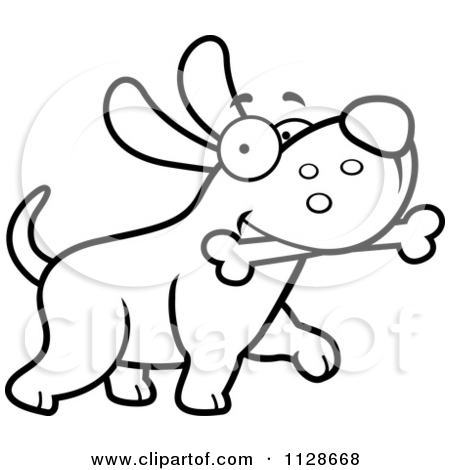 Cartoon Clipart Of An Outlined Happy Dog Strutting With A Bone.