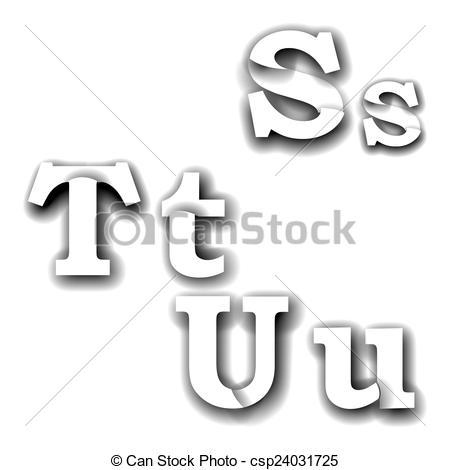 Clip Art of compound letters stu.