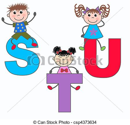 Drawing of alphabet letters S T U.
