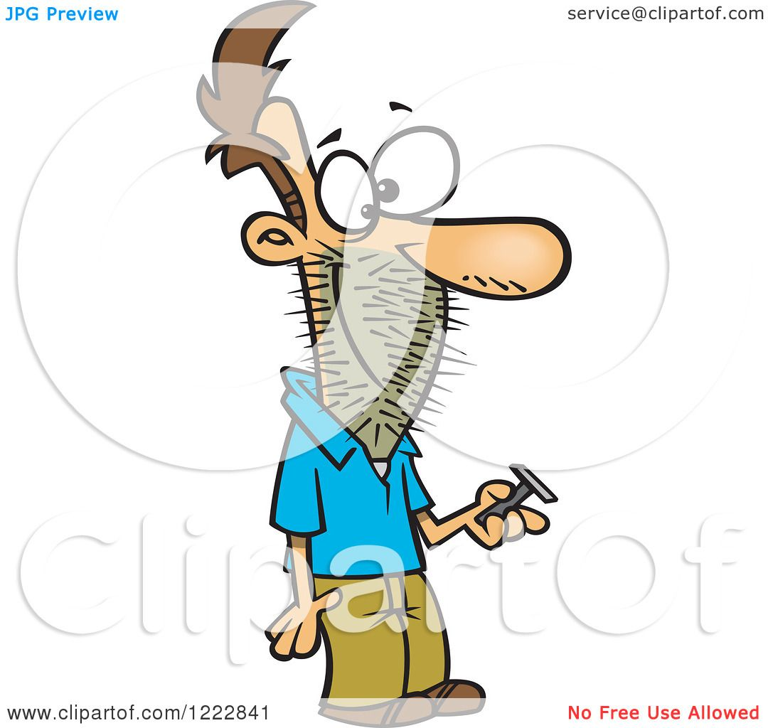 Clipart of a Caucasian Man Holding a Razor, with Stubble on His.