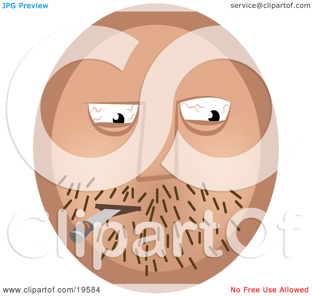 Clipart Illustration of an Emoticon Face Guy With Stubble And.