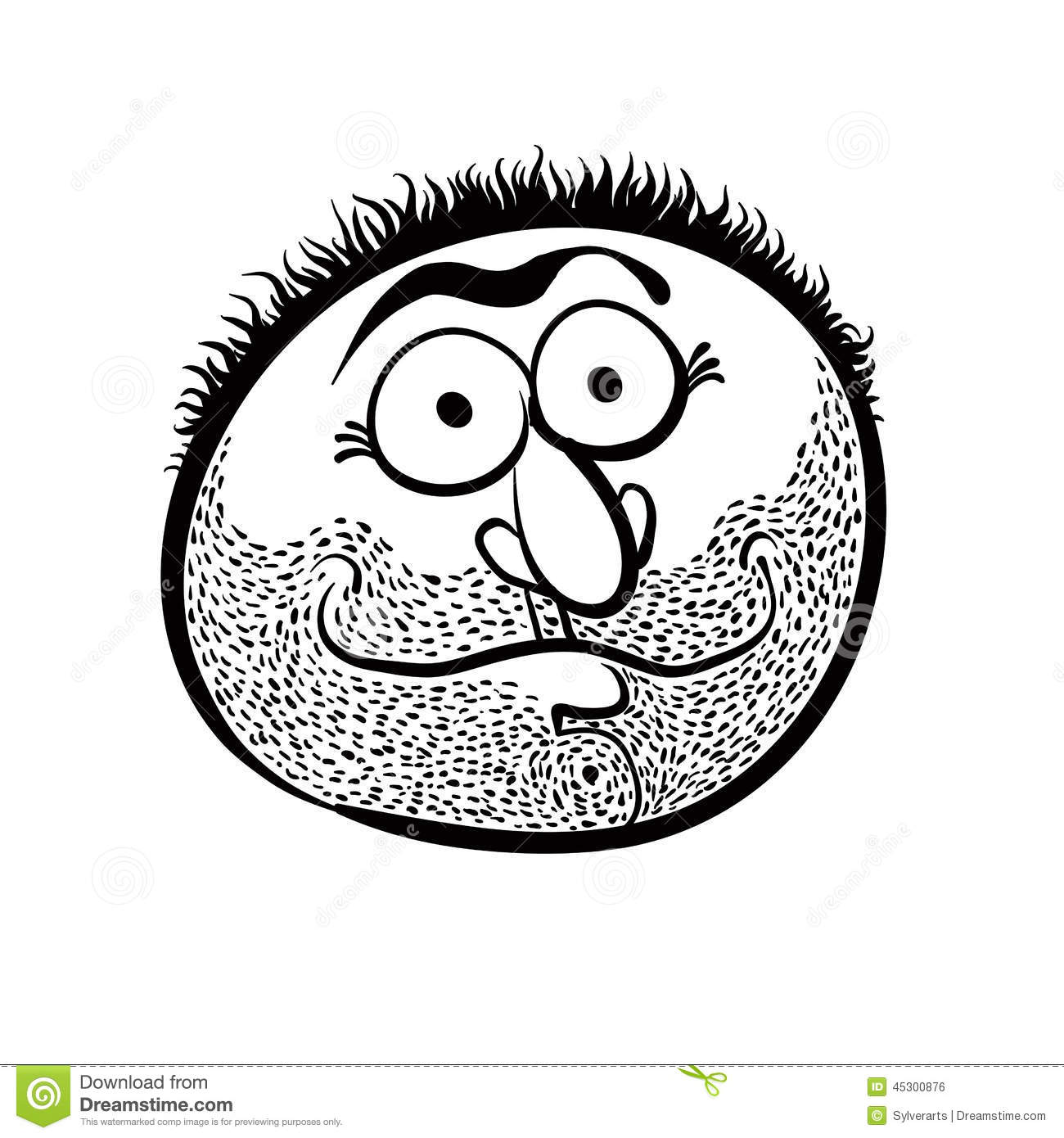 Funny Cartoon Face With Stubble, Black And White Stock Vector.