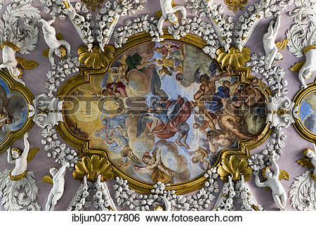 "Stock Images of ""Baroque stucco ceiling with cherubs, angels and."
