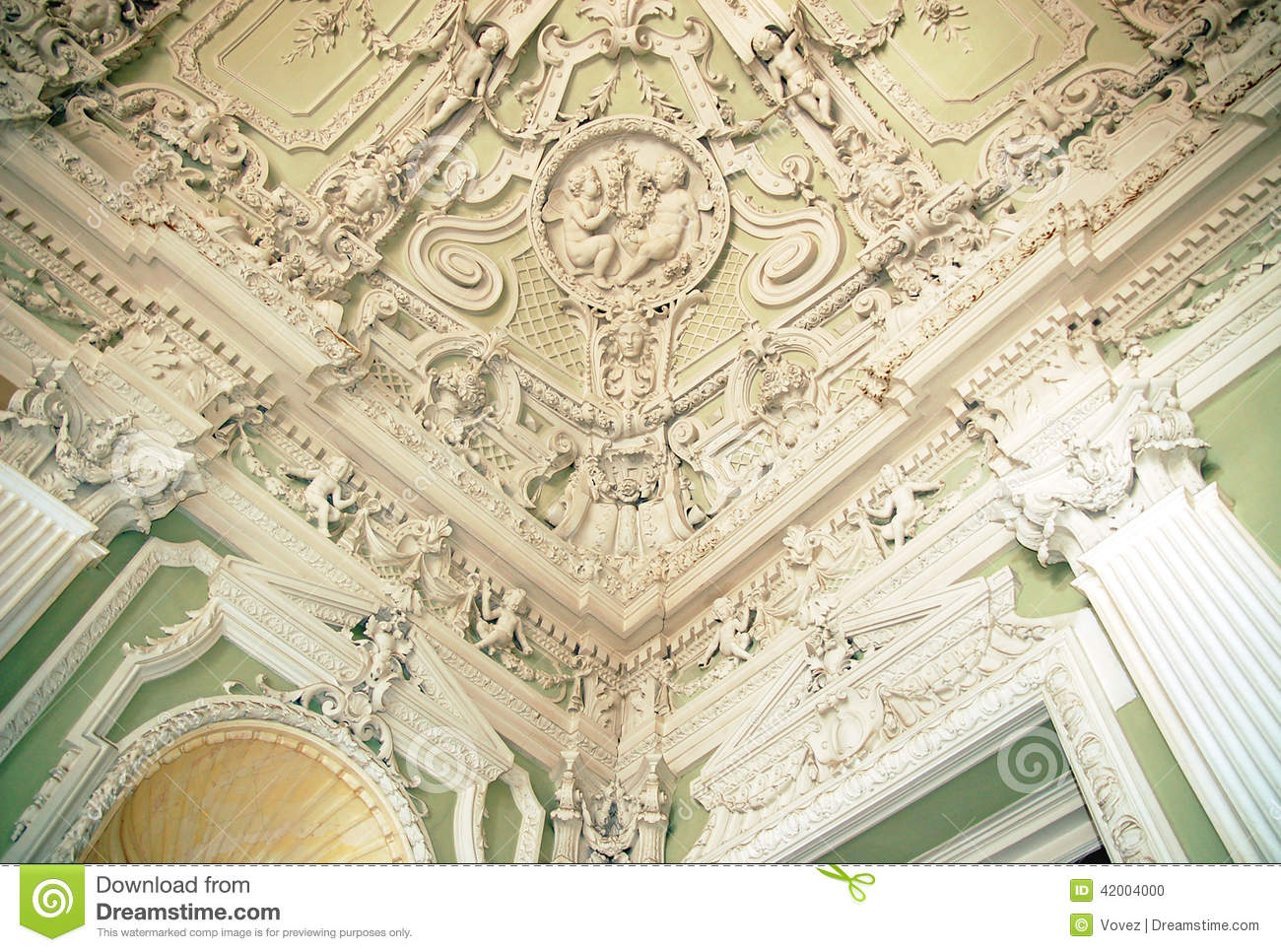 Stucco Ceilings In The Moika Palace, St. Petersburg Stock Photo.