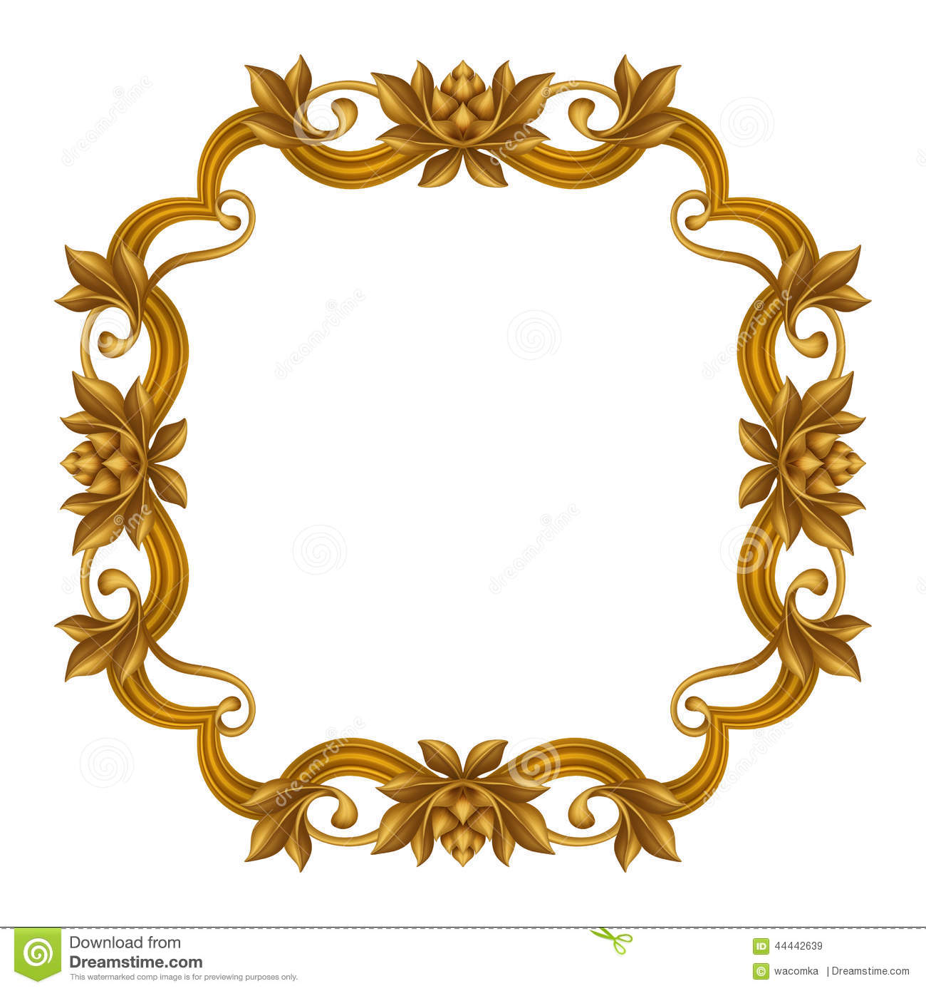 Ornament Frame Golden Stucco Decoration Elements On White Stock.
