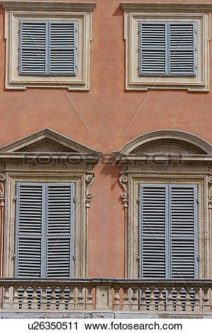 Stock Photography of Detail of Renaissance palace, 4 windows with.