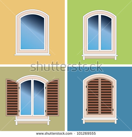Four Classical Types Arched Windows Brick Stock Vector 102106399.