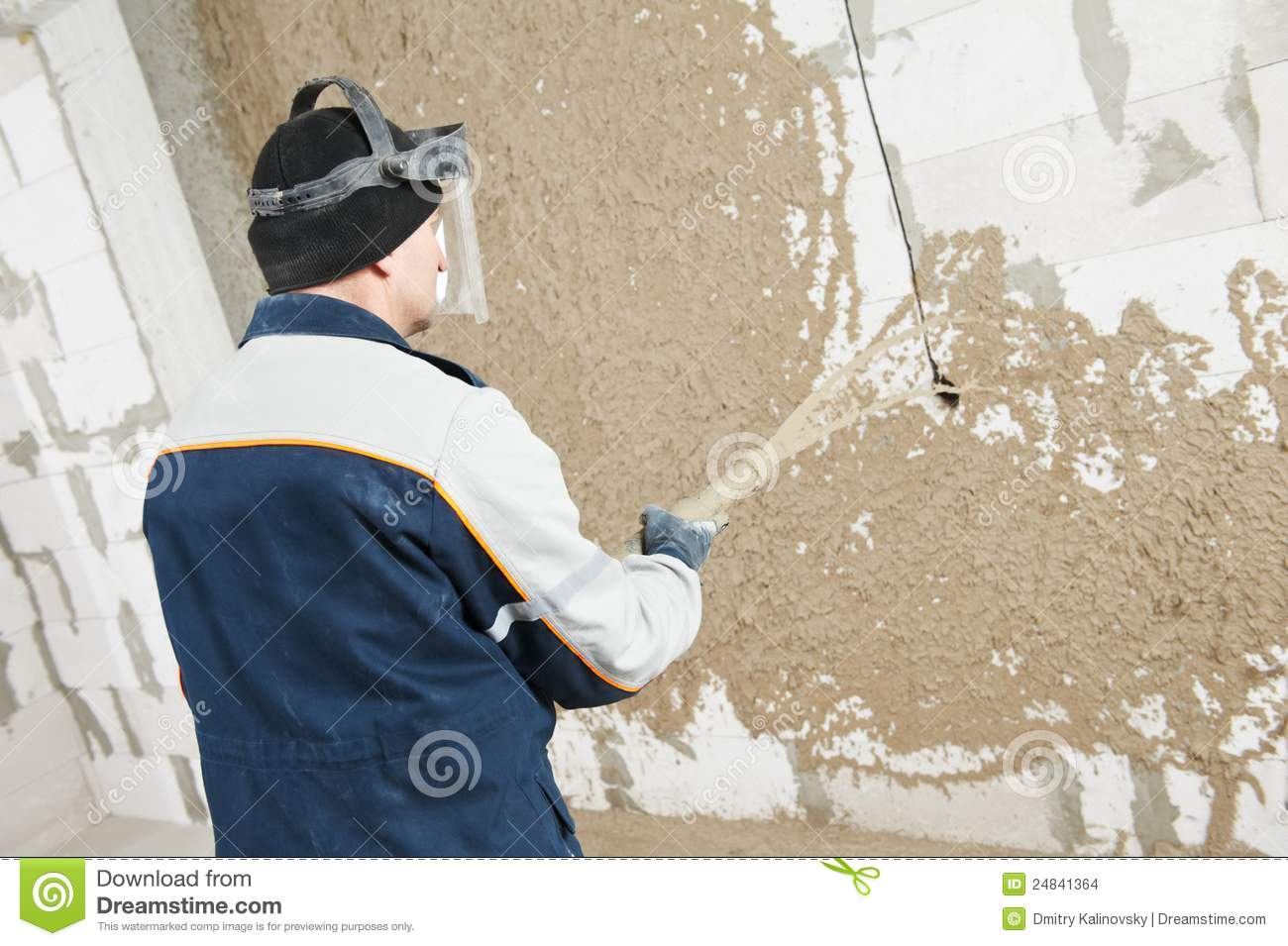 Plasterer At Stucco Work With Liquid Plaster Stock Images.