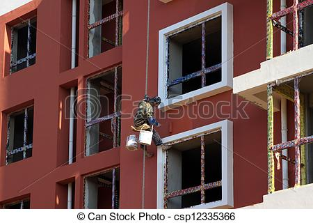 Stock Illustration of stucco workers to work in high.