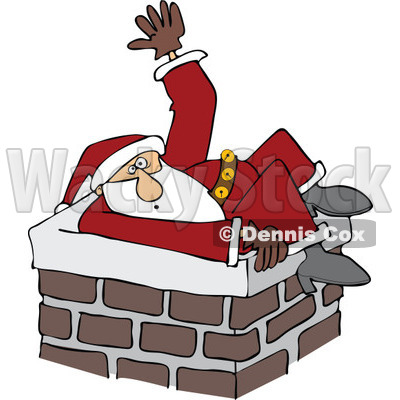of Santa Stuck in a Chimney and Waving for Help.