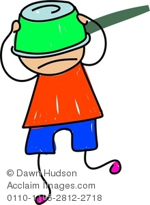 Clipart Image of A Silly Little Boy With A Pan Stuck On His Head.