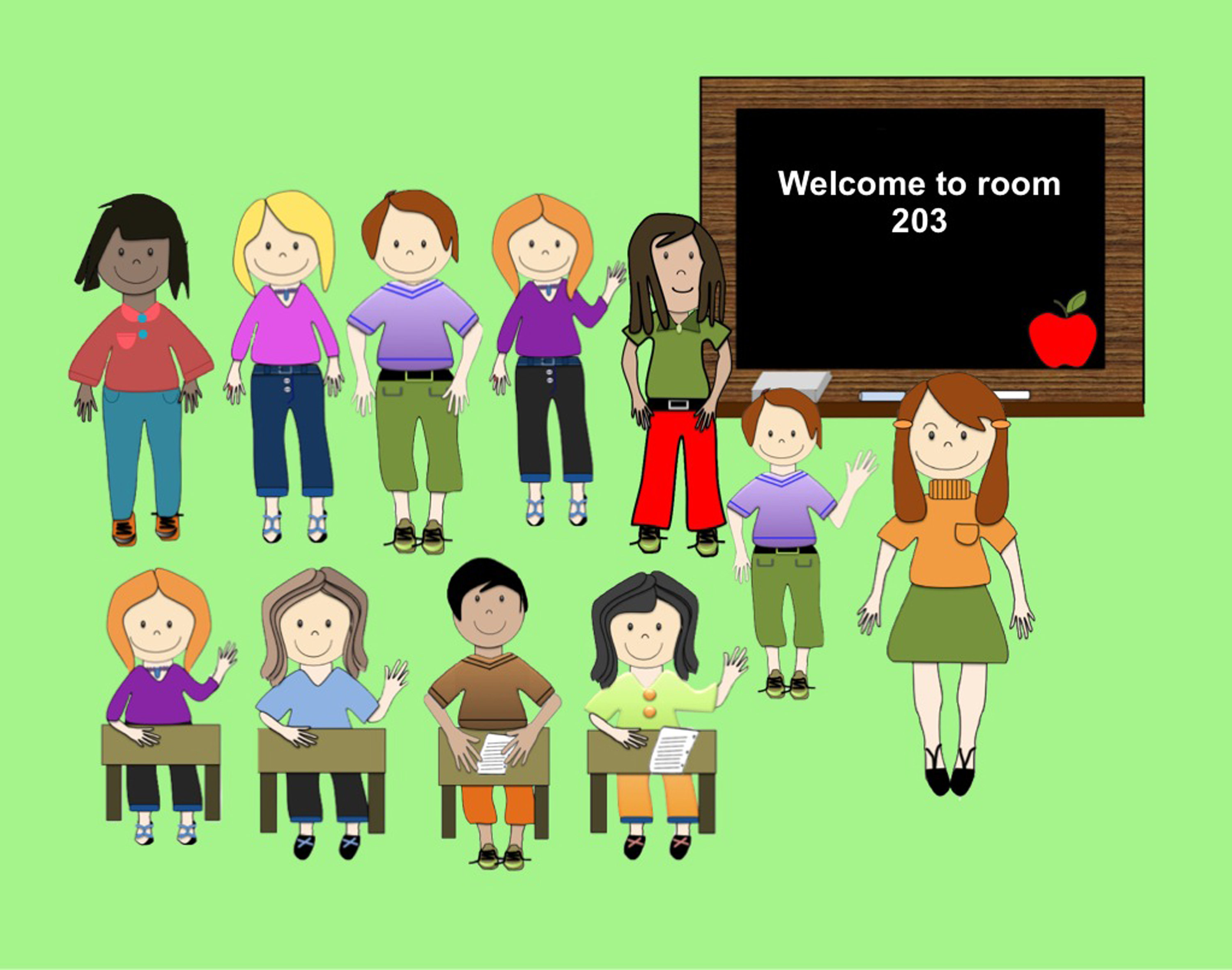 11 Students (Clip art) in png format.