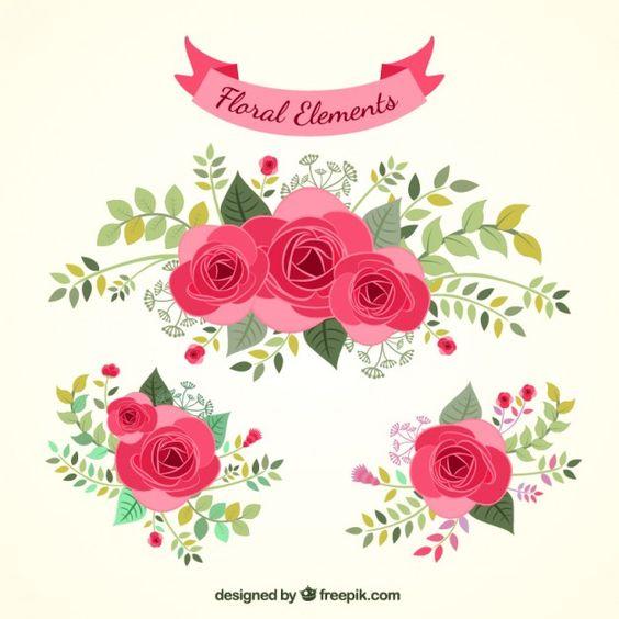 Desenhadas mão elementos florais.