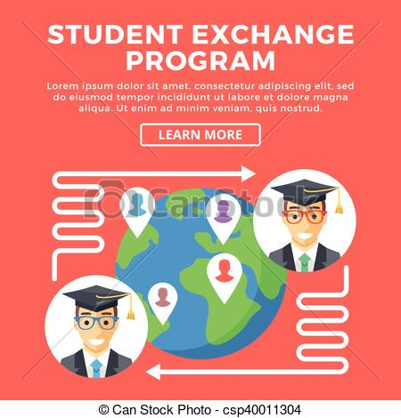 Vector Clipart of Student exchange program, education abroad.