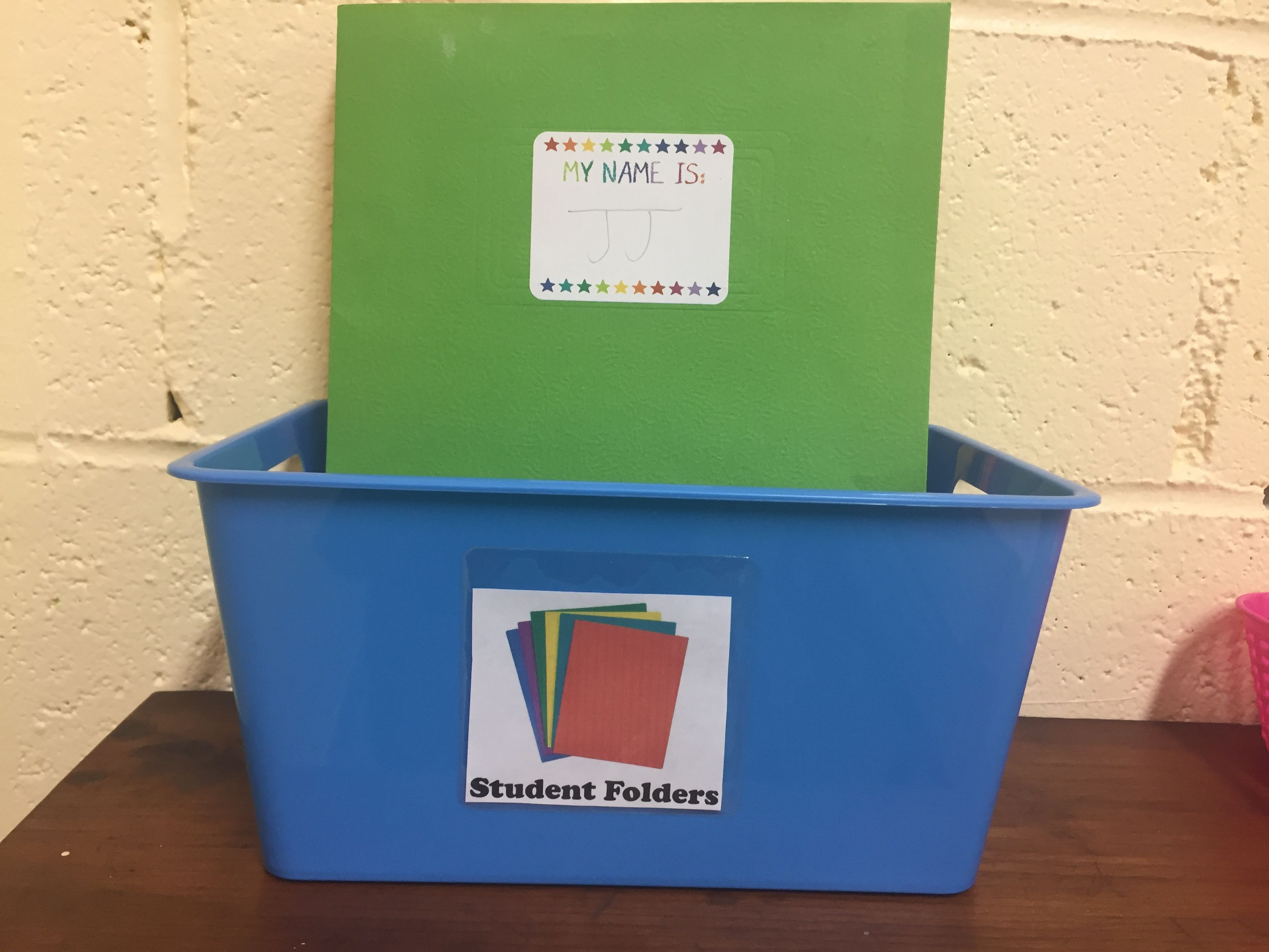 Student folder basket. Created label using PowerPoint and.