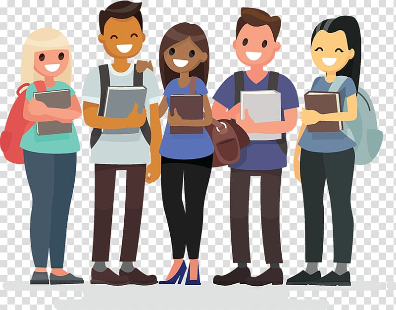 Illustration of people holding books, Student group Student.