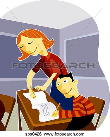 Stock Illustration of A teacher helping her student in the.