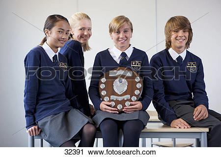 Stock Photography of Portrait of smiling students in school.