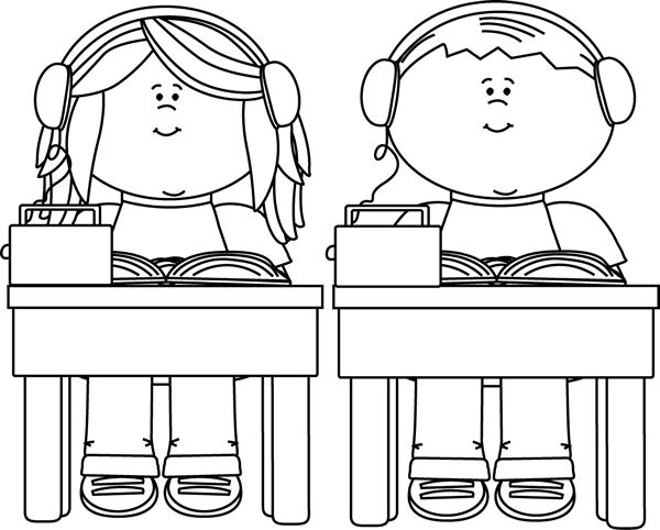 Student Clipart Black And White: Student Listening Clipart Black And White