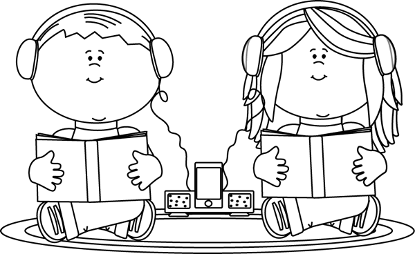 student listening clipart black and white