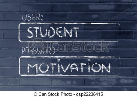 Clipart of user Student, password Motivation.