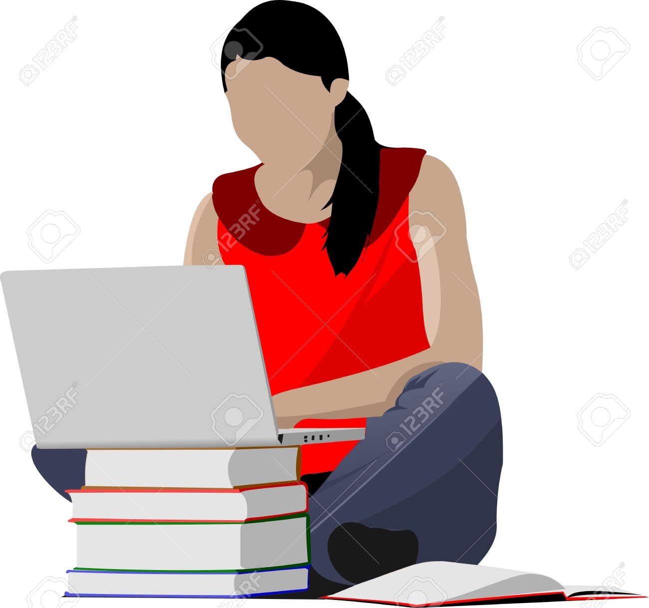 Sitting Girl With Laptop And Book`s Column. Back To School. Vector.