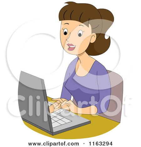 student on laptop clipart #13