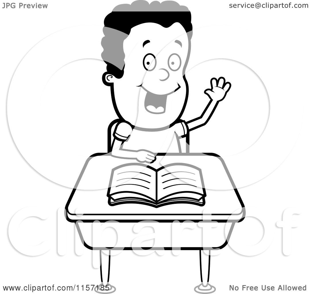 Cartoon Clipart Of A Black And White Smart Boy Sitting at a Desk.