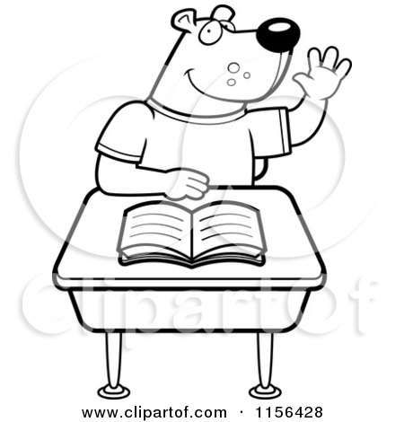 Cartoon Clipart Of A Black And White Student Bear Raising His Hand.