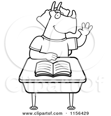 Cartoon Clipart Of A Black And White Student Triceratops Raising.